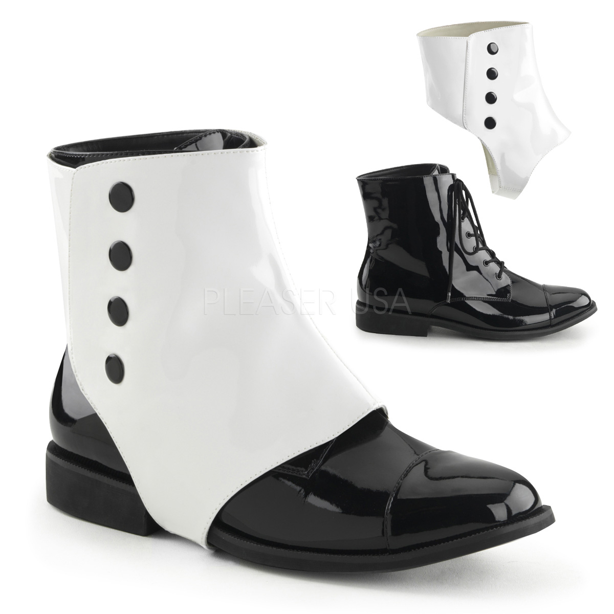 Black And White Mens Victorian Shoes