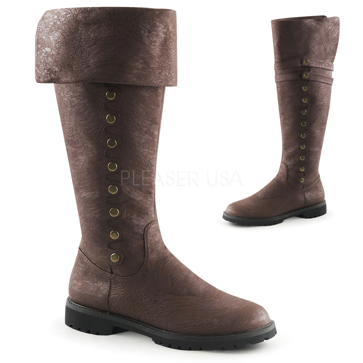 Brown Leather Cuffed Shoe Boots