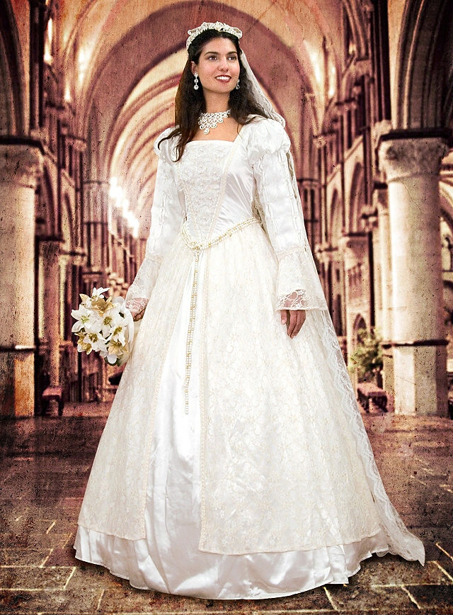 costume wedding dress with lace